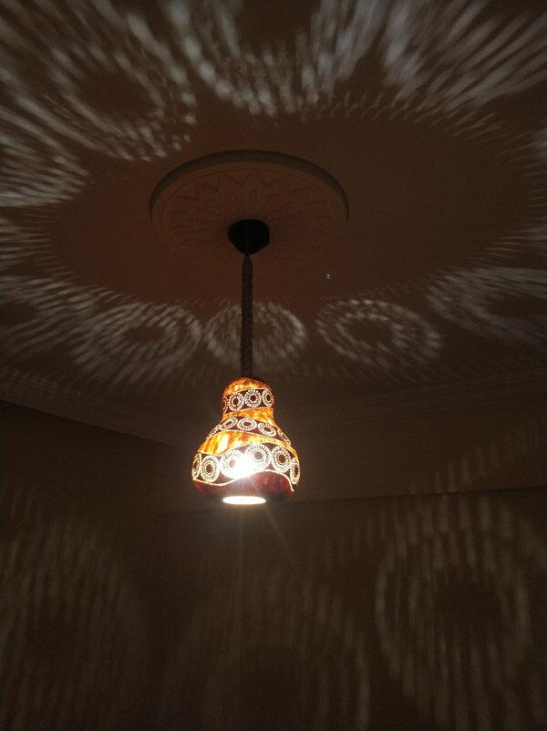 su kabağı ışıklı dekoratif led gece sarkıt avize lamba model tasarım