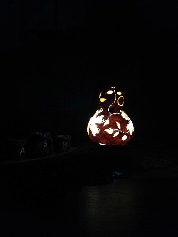 otantik dekoratif su kabağı lamba