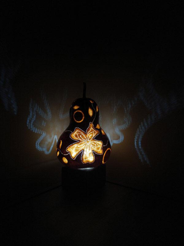 otantik dekoratif ışıklı su kabağı lamba