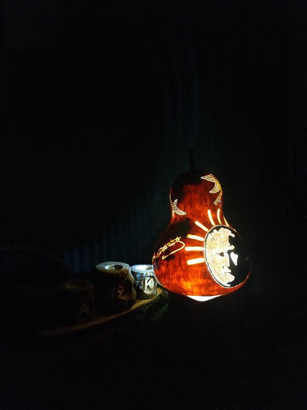 atatürk bayrak otantik ışıklı su kabak lamba