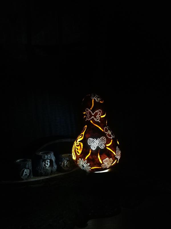 otantik dekoratif kelebekli ışıklı su kabak lamba