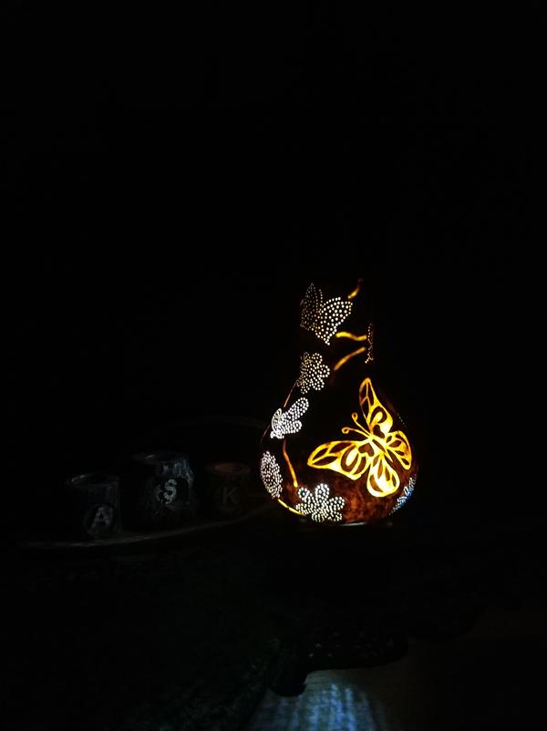 su kabağı kelebekli aydınlama lamba